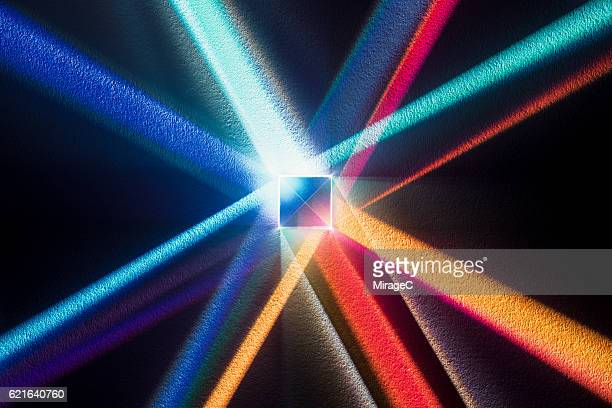 cube prism with colorful spectrum - spectrum stock pictures, royalty-free photos & images