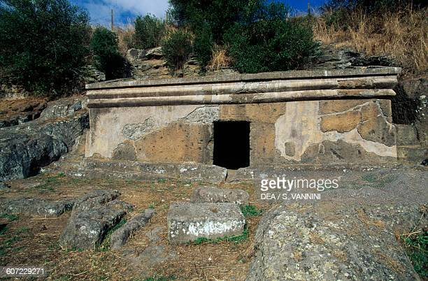 Cube tomb necropolis of Peschiera Tuscania Lazio Italy Etruscan civilisation 6th century BC