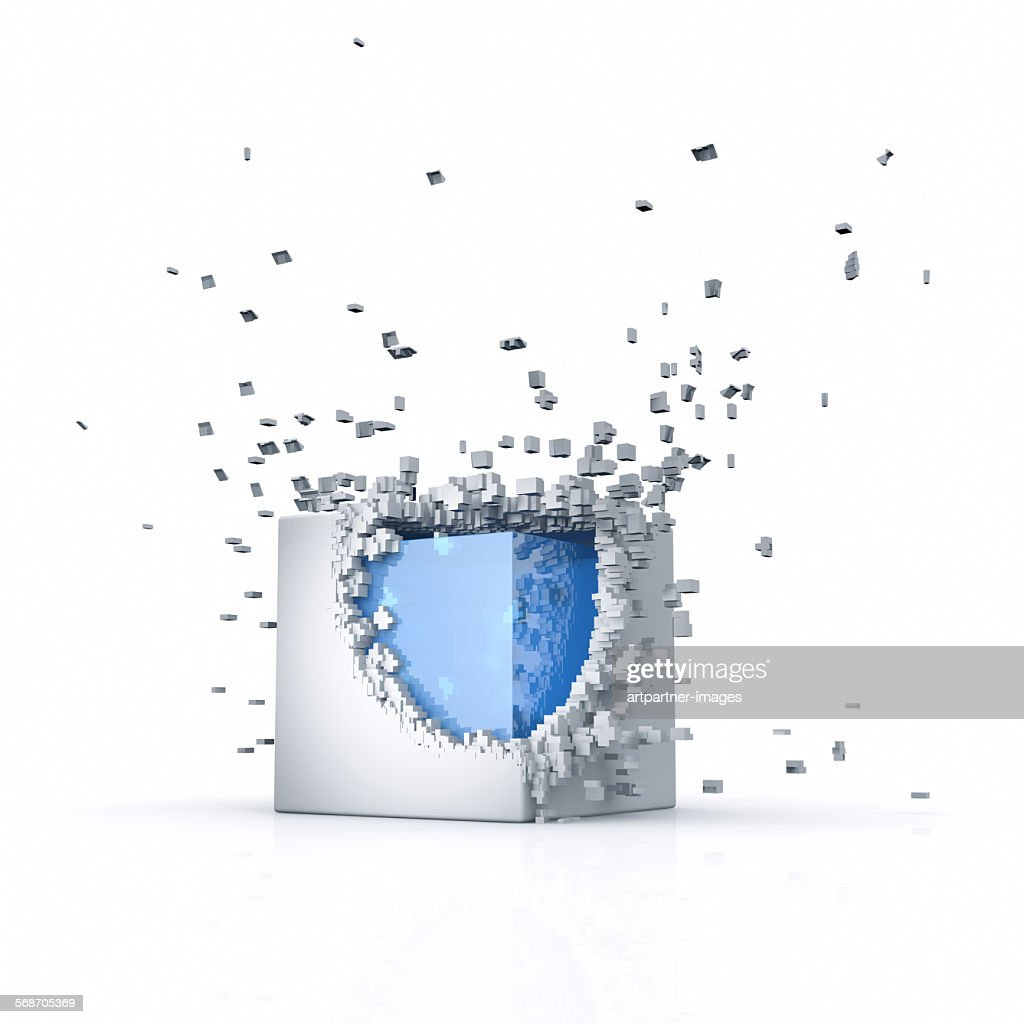 Cube with a breaking shell : Stock Photo