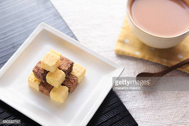 Cubed Snacks and Tea with Milk