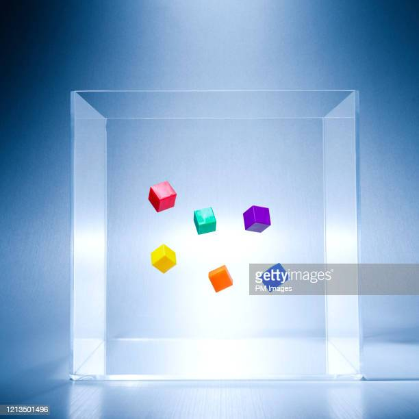 cubes floating in a clear box - transparent stock pictures, royalty-free photos & images