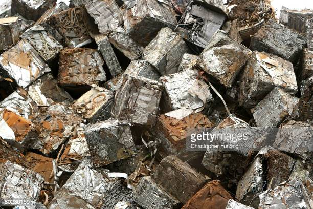 Cubes of scrap aluminium metal sit in Liverpool docks awaiting export to foundries and metal merchants abroad March 13 in Liverpool England The...