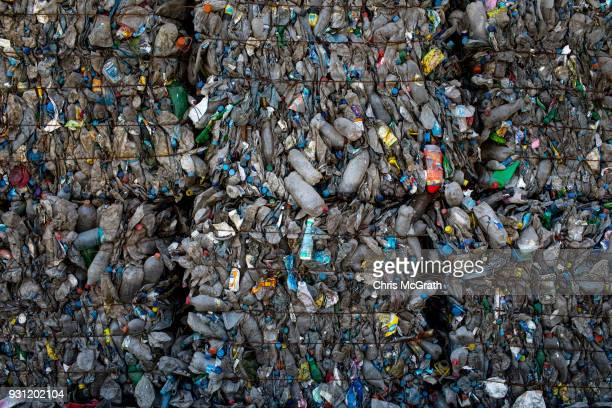 Cubes of sorted compressed plastic bottles are seen at the recycling center at the Sile Integrated Waste Facility Center on March 12 2018 in Istanbul...