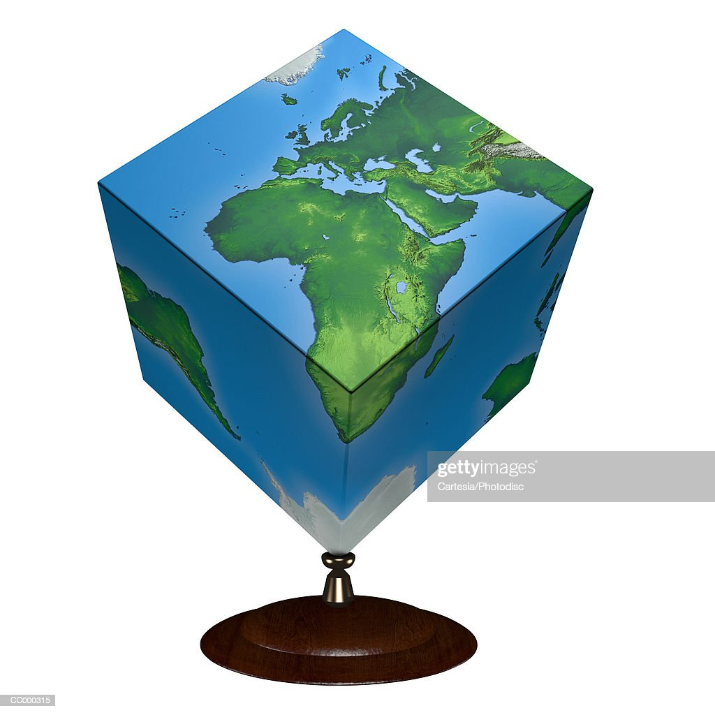 Cubeshaped map of the world showing africa stock photo getty images cube shaped map of the world showing africa stock photo sciox Gallery