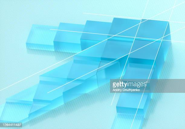 cubic glass arrow - moving up stock pictures, royalty-free photos & images