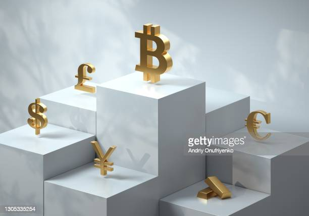 Cubic pedestal with currency symbols