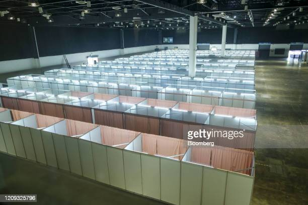 Cubicles stand in a quarantine facility under construction at the World Trade Center in Manila, the Philippines, on Tuesday, April 7, 2020....