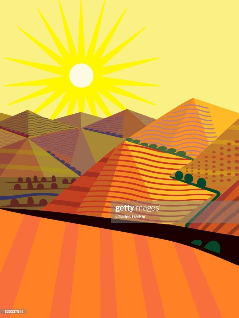 Cubist Mountain Landscape Illustration : Stock Photo