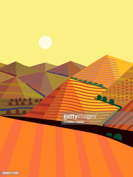 Cubist Mountain Landscape Illustration