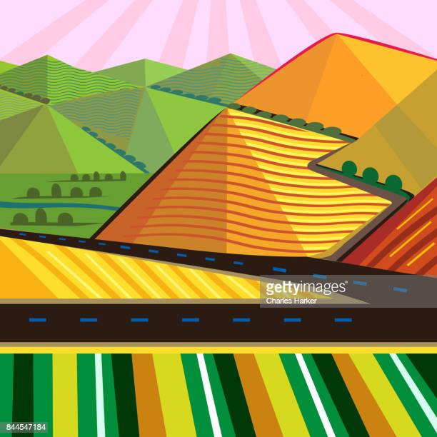 Cubist Mountain Landscape with vivid colors in Square Format