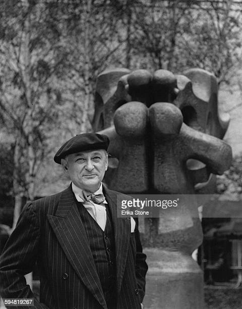 Cubist sculptor Jacques Lipchitz at the Museum of Modern Art in New York City circa 1950