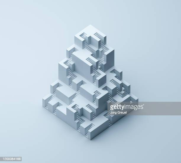 cubistic stairs building - isometric stock pictures, royalty-free photos & images
