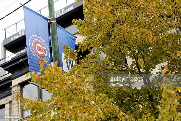 Cubs banners are seen during the workout day for the 2016 World Series between the Cleveland Indians and the Chicago Cubs at Wrigley Field on...