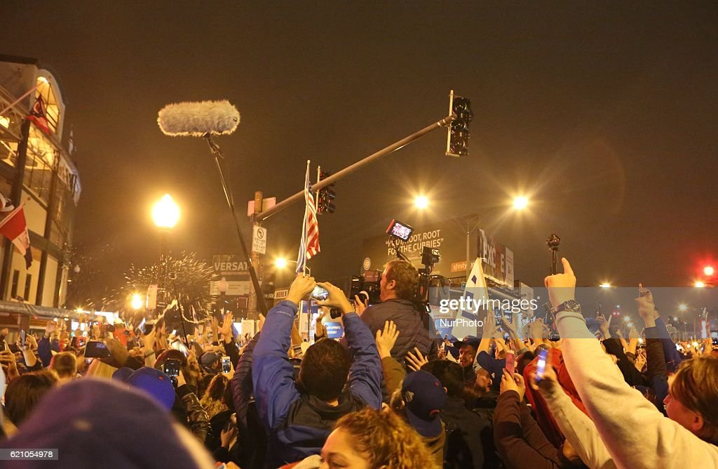 Cubs fans celebrate a win at the World Series at Wrigley Field in Chicago, Illinois, United States on November 2, 2016.
