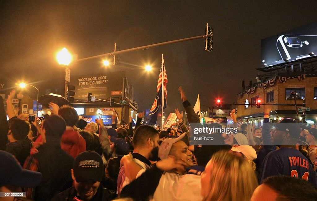 Cubs fans celebrate a win during the World Series at Wrigley Field in Chicago, Illinois, United States on November 2, 2016.