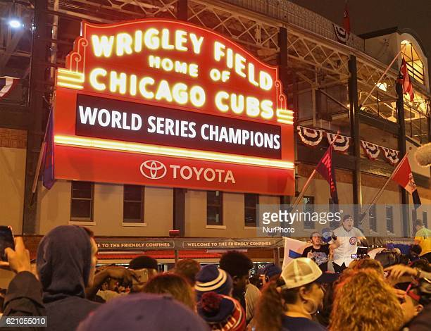 Cubs fans celebrate a win during the World Series at Wrigley Field in Chicago Illinois United States on November 2 2016