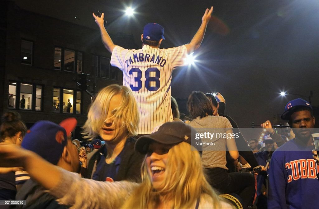 Cubs fans celebrate a win during the World Series in the streets in Chicago, Illinois, United States on November 2, 2016.