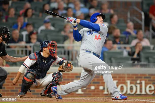Cubs first baseman Anthony Rizzo hits a deep fly ball during the game between Atlanta and Chicago on May 15th 2018 at SunTrust Park in Atlanta GA The...