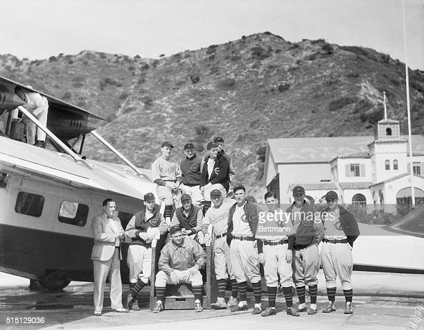Cubs Go AirMinded Members of the Chicago Cubs regain their landlegs after a flight in an amphibian plane over Catalina Island where they are in...