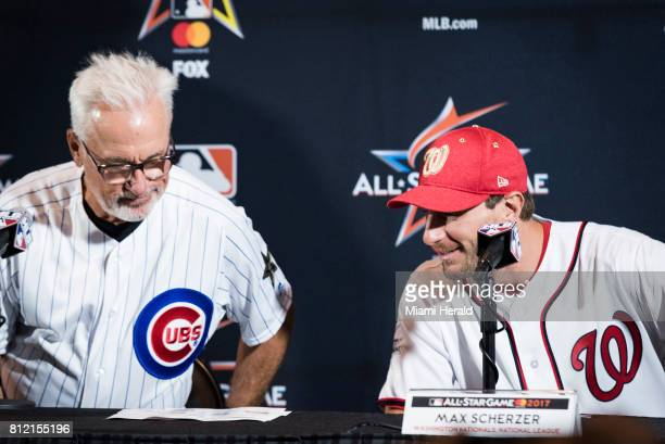 Cubs manager Joe Maddon and Nationals pitcher Max Scherzer look at the National League lineup before presenting it at the MLB All Star Game press...