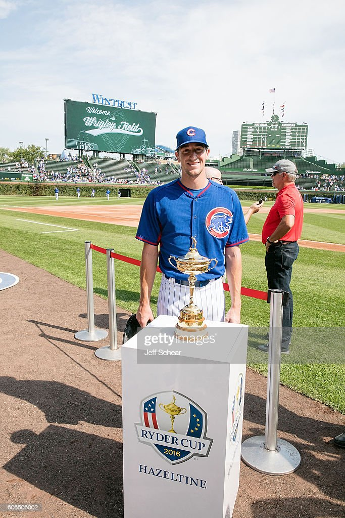Ryder Cup Trophy Visits Milwaukee Brewers v Chicago Cubs Game