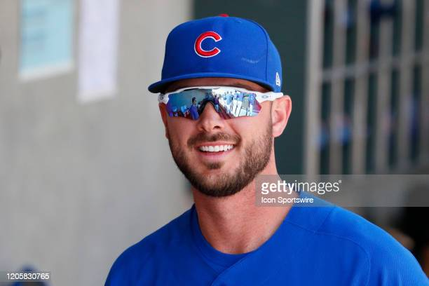 Cubs third baseman Kris Bryant looks on during Big League Weekend featuring the Chicago Cubs and Cincinnati Reds on March 7, 2020 at Las Vegas...