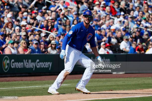 Cubs third baseman Kris Bryant runs down the third base line during Big League Weekend featuring the Chicago Cubs and Cincinnati Reds on March 7,...