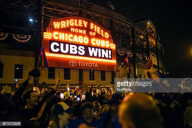 Cubs Win displayed on the main scoreboard of Wrigley Fieldin Chicago on November 2 2016
