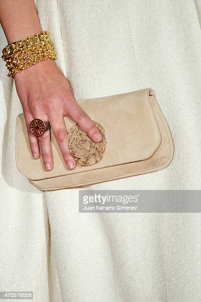 Cuca Escribano purse detail attends the 'Requisitos Para Ser Una Persona Normal' premiere during the 18th Malaga Spanish Film Festival at Cervantes...