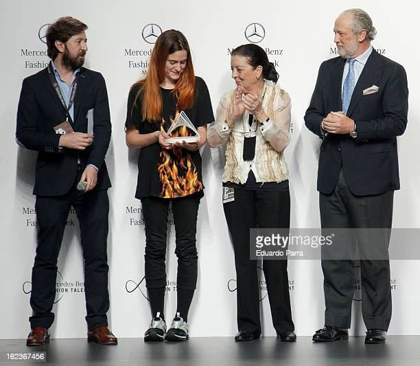 Cuca Solana gives the award MercedesBenz Fashion Talent to the designer Pepa Salazar at the EGO show during Mercedes Benz Fashion Week Madrid...