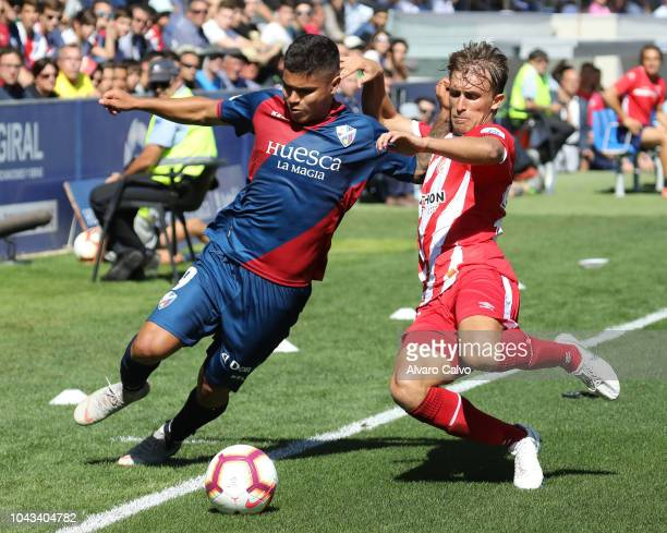 Cucho Hernandez of SD Huesca during the La Liga match between SD Huesca and FC Girona at El Alcoraz on September 30 2018 in Huesca Spain