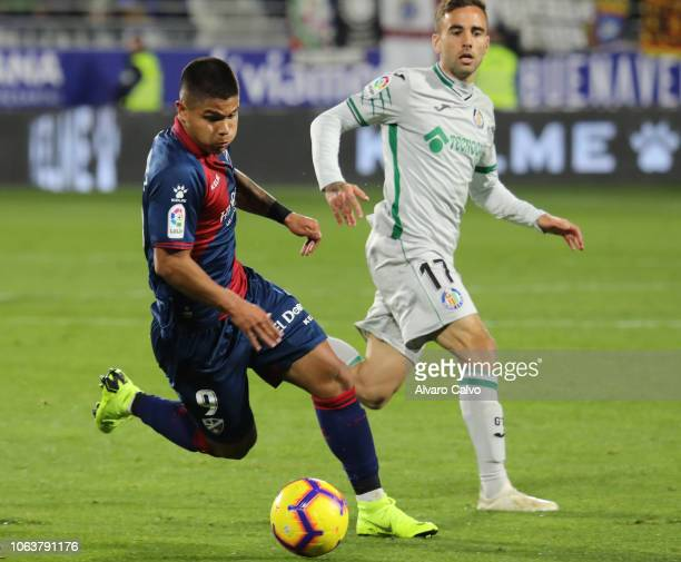 Cucho Hernandez of SD Huesca during the La Liga match between SD Huesca and Getafe at El Alcoraz on November 5 2018 in Huesca Spain