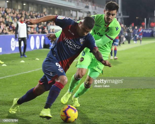 Cucho Hernandez of SD Huesca during the La Liga match between SD Huesca and Levante at El Alcoraz on November 24 2018 in Huesca Spain