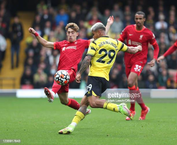 Cucho Hernandez of Watford has his shot blocked by Konstantinos Tsimikas of Liverpoo during the Premier League match between Watford and Liverpool at...