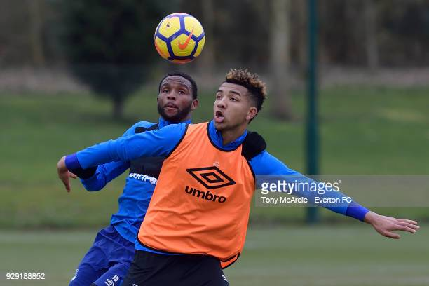Cuco Martina and Mason Holgate during an Everton FC training session at USM Finch Farm on March 6 2018 in Halewood England
