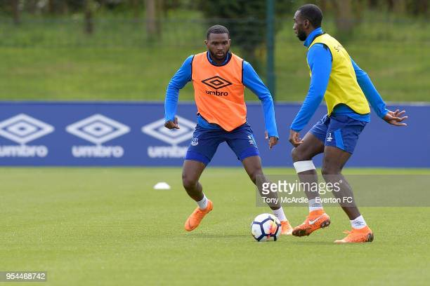 Cuco Martina and Yannick Bolasie during the Everton FC training session at USM Finch Farm on May 1 2018 in Halewood England