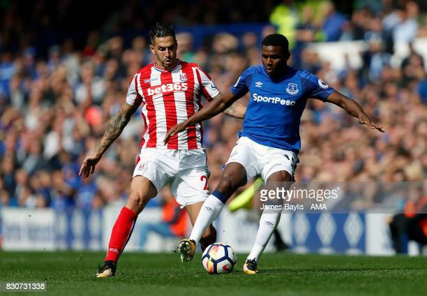 Cuco Martina of Everton and Geoff Cameron of Stoke City during the Premier League match between Everton and Stoke City at Goodison Park on August 12...