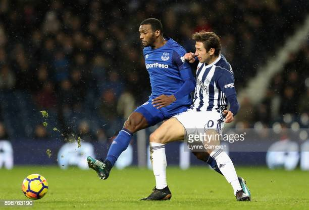 Cuco Martina of Everton and Grzegorz Krychowiak of West Bromwich Albion in action during the Premier League match between West Bromwich Albion and...