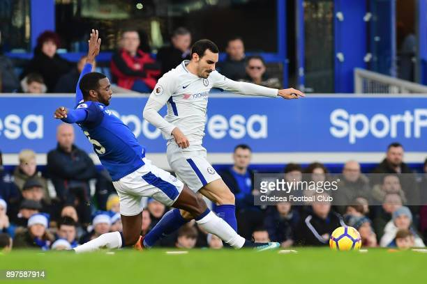 Cuco Martina of Everton tackles Davide Zappacosta of Chelsea during the Premier League match between Everton and Chelsea at Goodison Park on December...