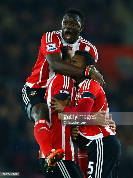 Cuco Martina of Southampton celebrates with Victor Wanyama and Jose Fonte as he scores their first goal with a long range shot during the Barclays...