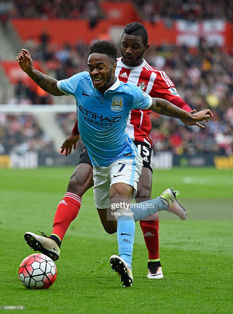 Cuco Martina of Southampton challenges Raheem Sterling of Manchester City during the Barclays Premier League match between Southampton and Manchester City at St Mary's Stadium on May 1, 2016 in Southampton, England.