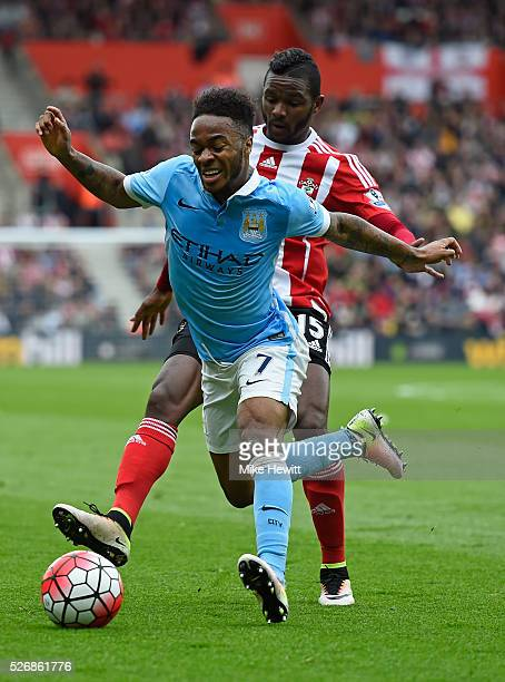 Cuco Martina of Southampton challenges Raheem Sterling of Manchester City during the Barclays Premier League match between Southampton and Manchester...