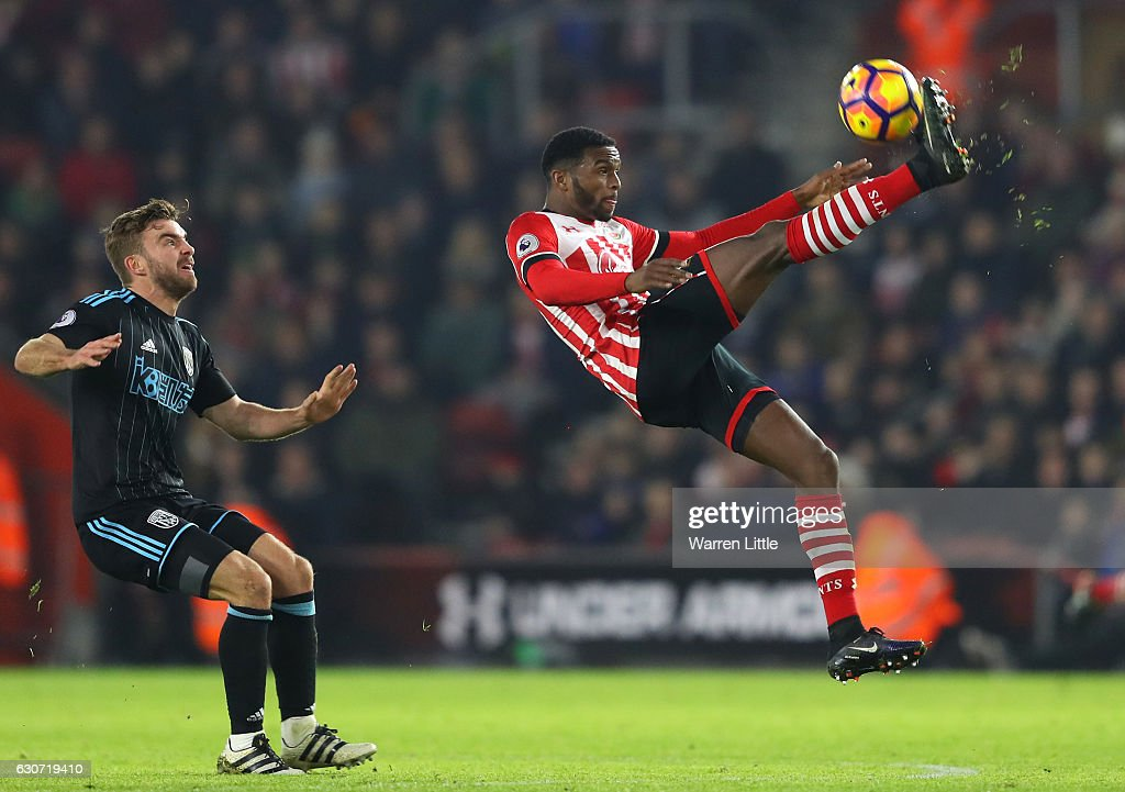 Cuco Martina of Southampton clears the ball during the Premier League match between Southampton and West Bromwich Albion at St Mary's Stadium on December 31, 2016 in Southampton, England.