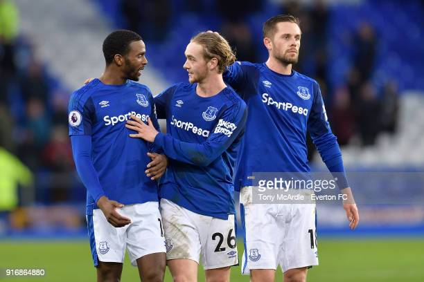 Cuco Martina Tom Davies and Gylfi Sigurdsson after the Premier League match between Everton and Crystal Palace at Goodison Park on February 10 2018...