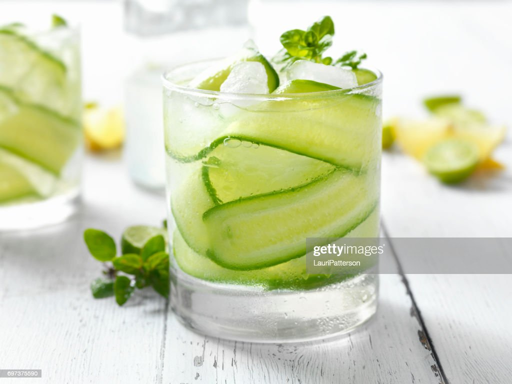 Cucumber, Basil and Citrus Cocktail : Stock Photo
