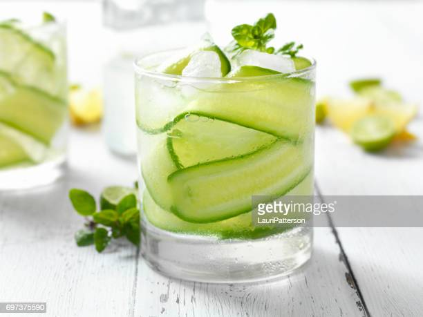 cucumber, basil and citrus cocktail - cocktail stock pictures, royalty-free photos & images