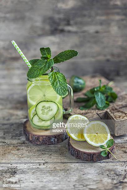 Cucumber, lemon and mint infused water.