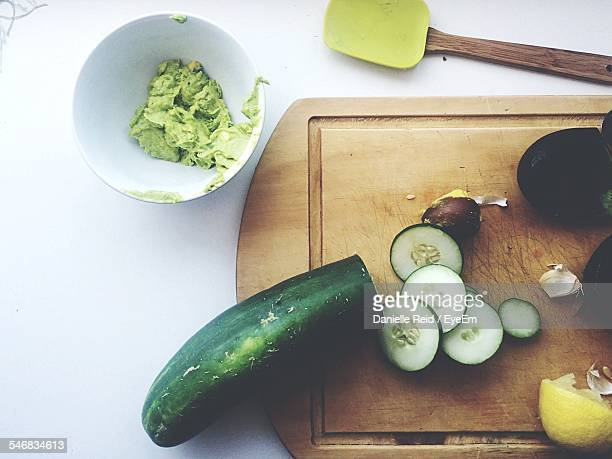 Cucumber On Cutting Board