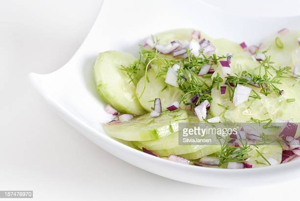 cucumber salad in a white bowl - cucumber stock pictures, royalty-free photos & images