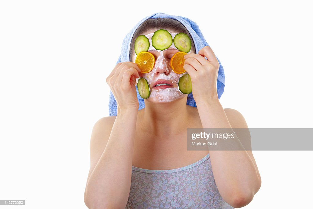 Cucumber slices face mask : Stock Photo